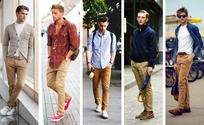 Những chiếc quần chinos màu tan hay những gan màu tương đồng kết hợp với áo sư mi trắng đơn gian tinh tế