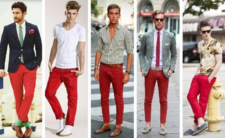 Cách phối đồ với quần chinos màu đỏ cổ điển