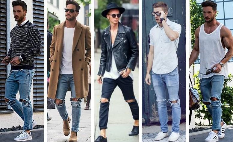 Quần skinny jeans nam rách làm cho vẻ ngoài của bạn thêm phần hầm hố