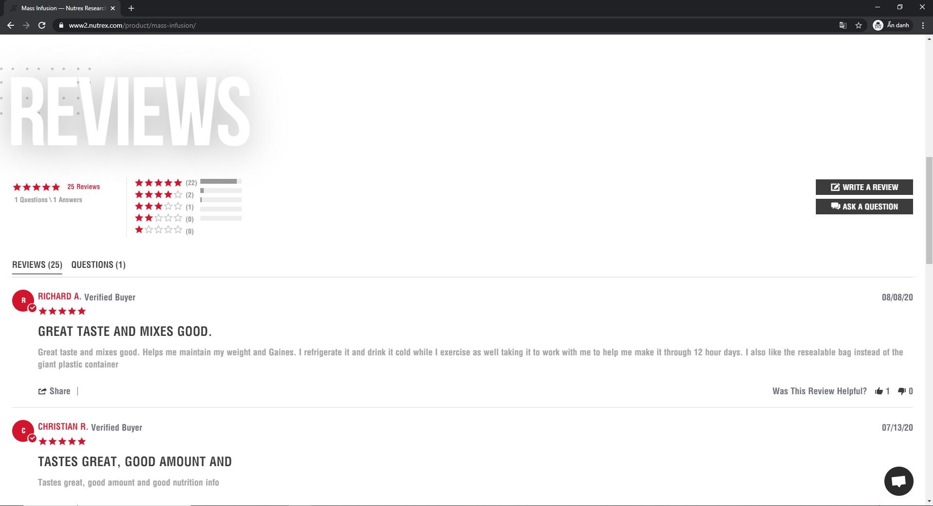 Ngay trên trang chủ của hãng. Sản phẩm Mass Infusion nhận được rất nhiều phản hồi tích cực từ khách hàng. Hầu hết đều là đánh giá 5 sao cho sản phẩm tăng cân này