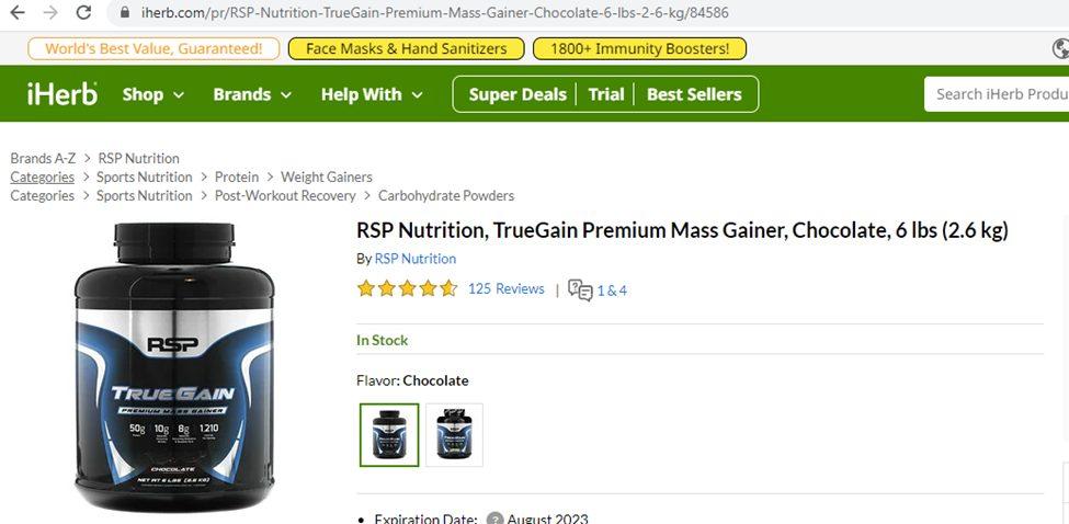 Rating cực khủng 4,8/5 sao của sữa tăng cân tăng cơ RSP Truegain dạng hộp trên trang iHerb.com
